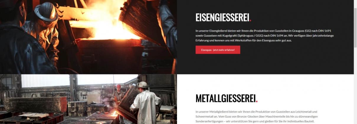Screenshot der neuen Website von Gießerei Gustav Buchholz aus Vienenburg.