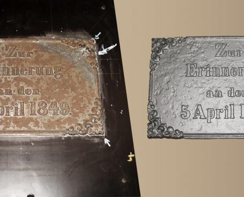 Nachguss - Gedenktafel an den Einmarsch der Dänen in Schleswig-Holstein am 5. April 1849. Die Gießerei Buchholz hat die Gedenktafel kopiert und diese im Grauguss, nah am Original nachgegossen.